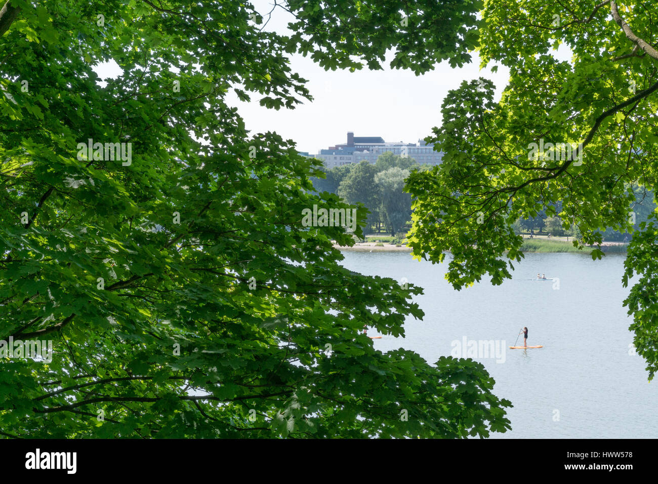 PEOPLE ON STAND UP PADDEL BOARDS ON A LAKE IN HELSINKI SURROUNDED BY TREES - Stock Image