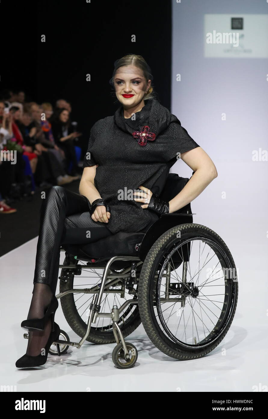 Moscow Russia 23rd Mar 2017 A Model In A Wheelchair Showcases A Stock Photo Alamy