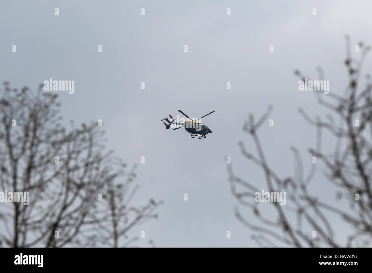 Westminster, London, UK 23 Mar 2017- A police helicopter