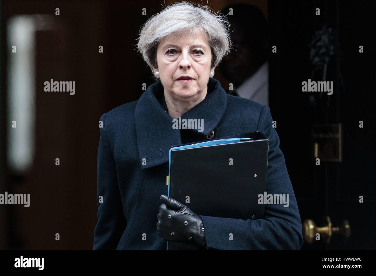 London, UK. 23rd Mar, 2017. British Prime Minister Theresa May leaves 10 Downing Street in London, Britain on March - Stock Image