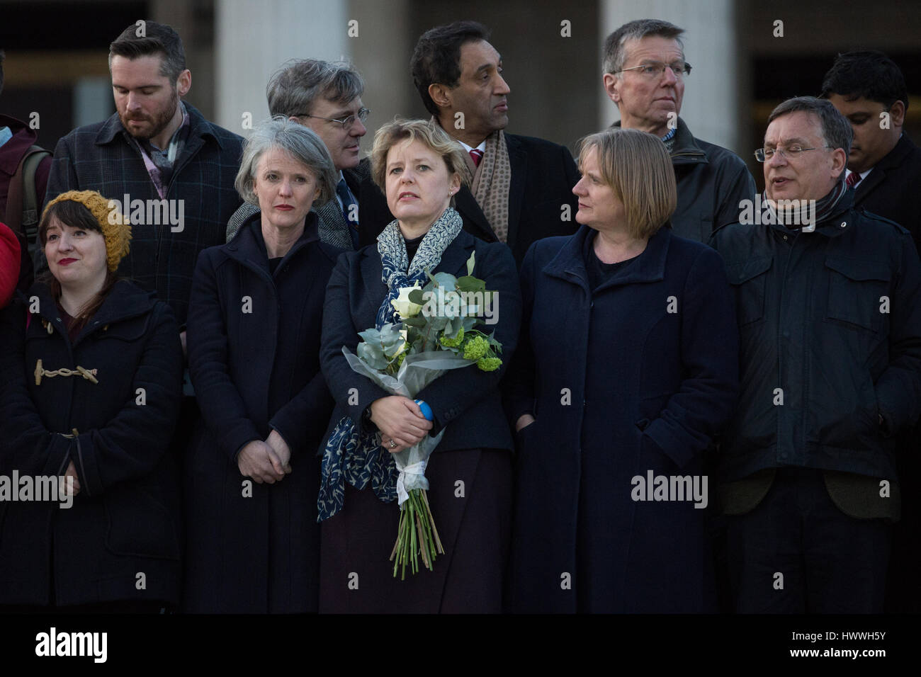 London, UK. 23rd March, 2017. Dignitaries including London Assembly Members assemble in Trafalgar Square for a vigil - Stock Image