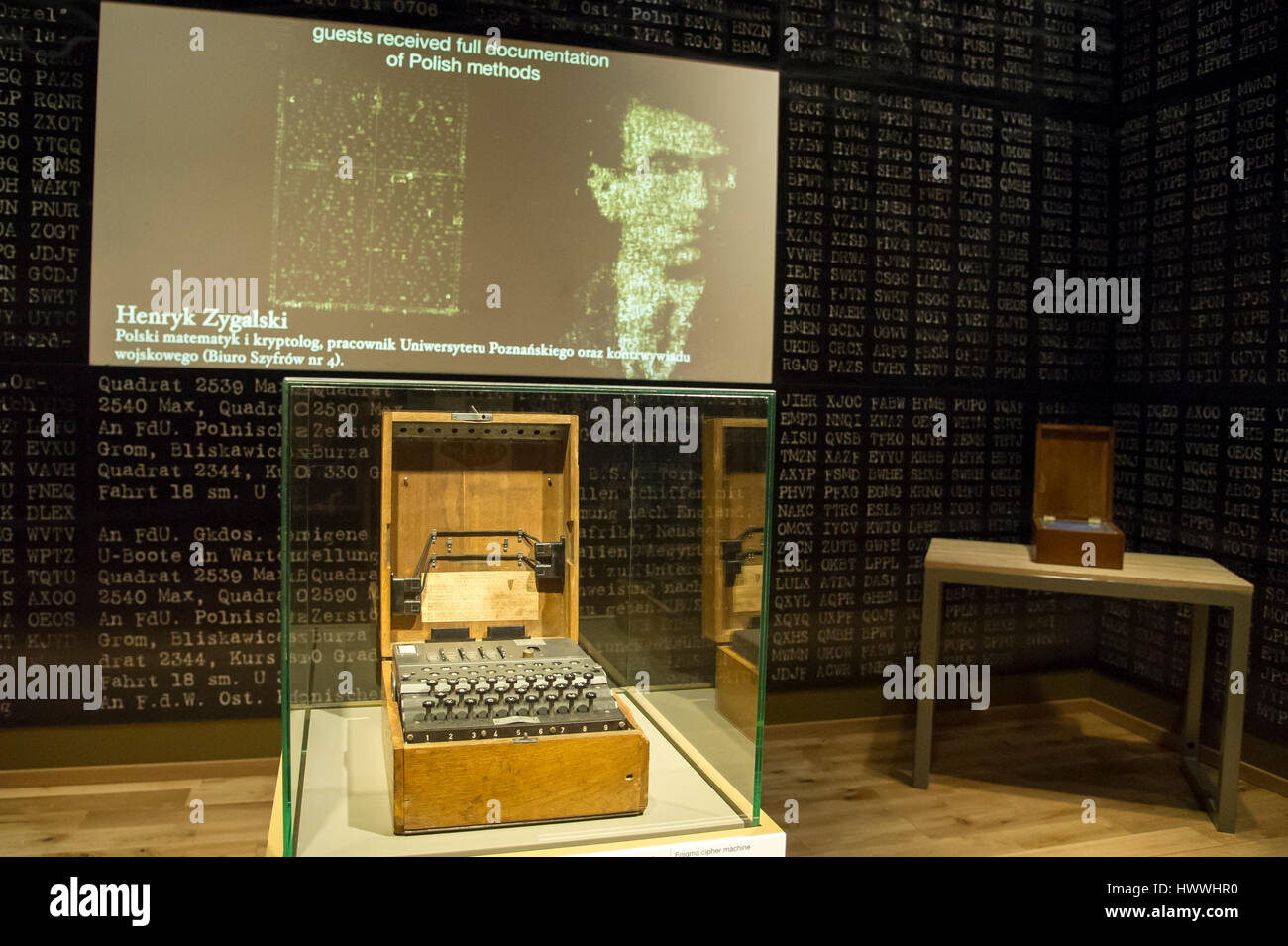 Gdansk, Poland. 23rd March, 2017. Gdansk, Poland. 23rd Mar, 2017. Enigma machine, German electro mechanical rotor Stock Photo