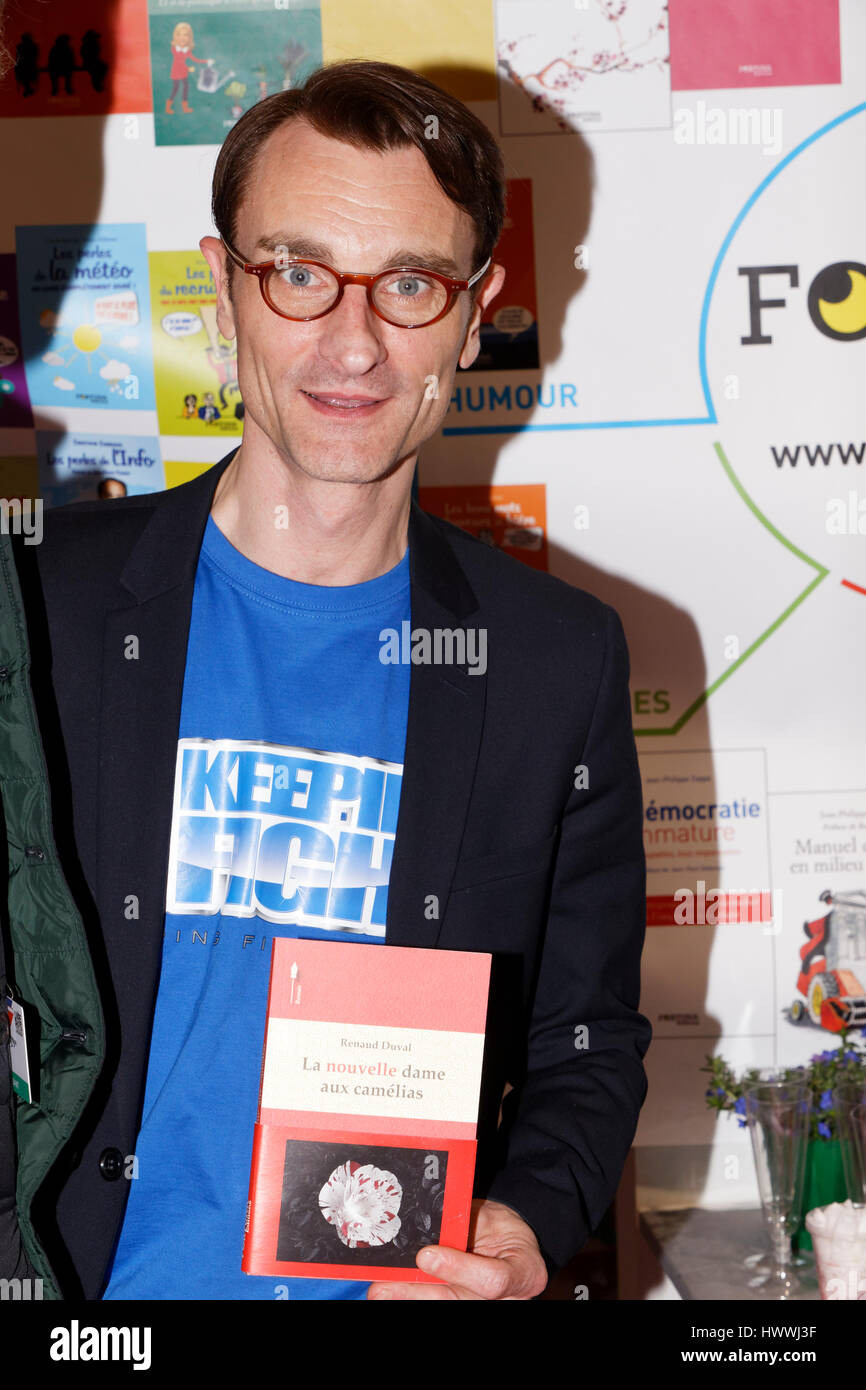 Paris, France. 23rd March 2017. Renaud Duval attends 37th edition of the Paris Book Fair. Credit: Bernard Menigault/Alamy - Stock Image