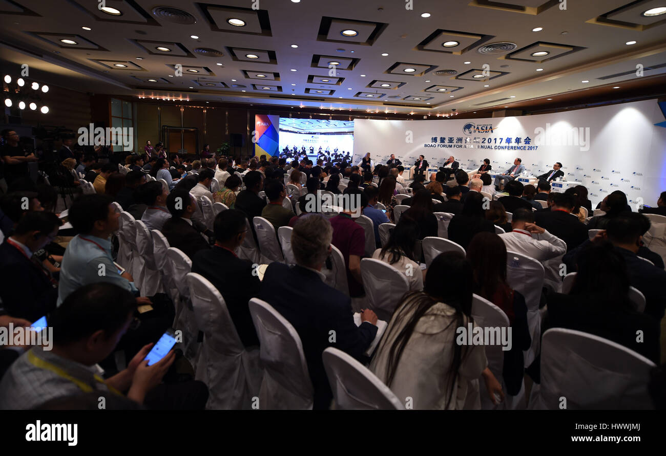 Boao, China's Hainan Province. 23rd Mar, 2017. Delegates attend the session of 'The Innovators' DNA' - Stock Image