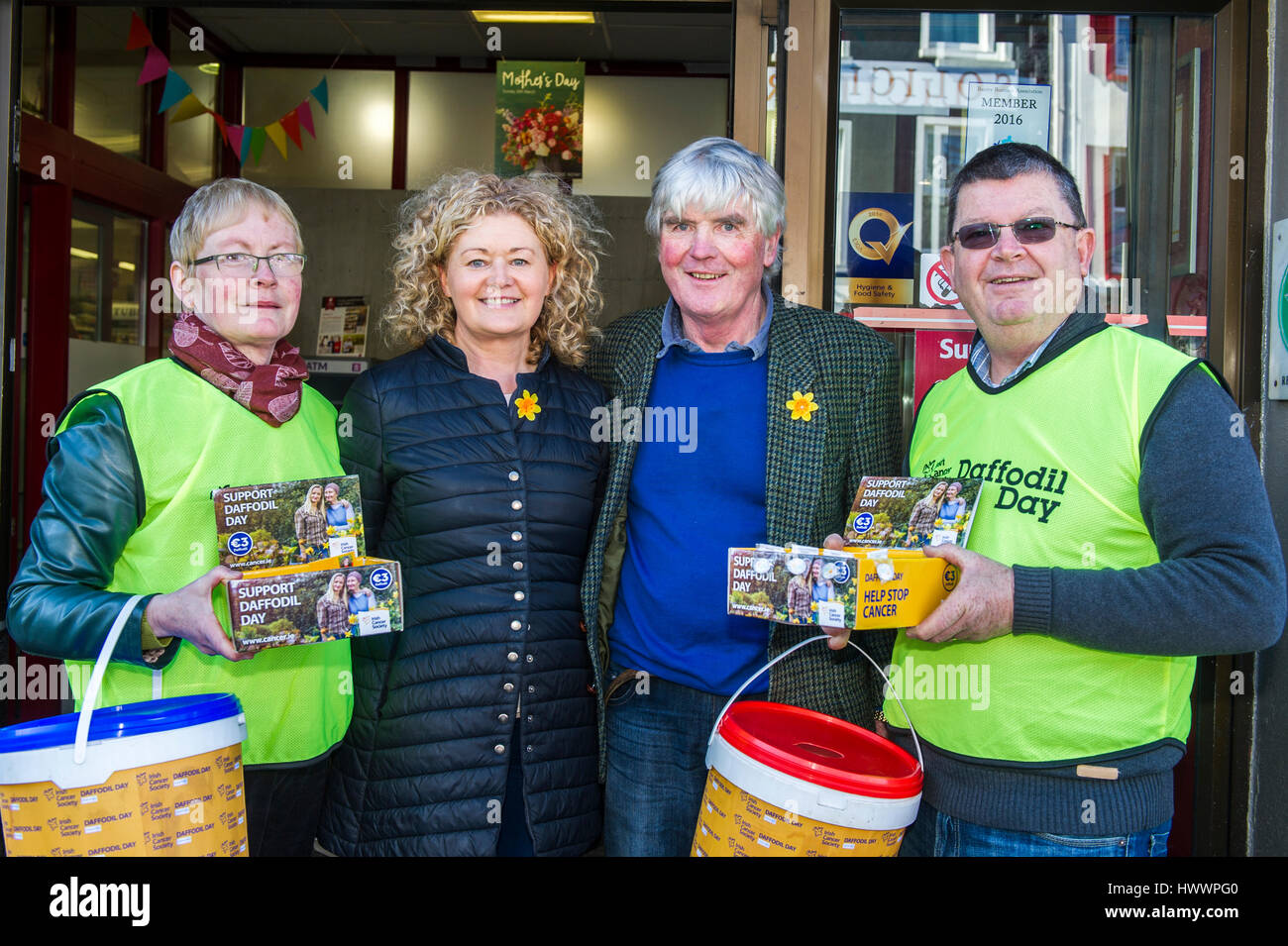 Bantry, Ireland. 24th March 2017. The Irish Cancer Society holds its fundraising Daffodil Day annually across the - Stock Image