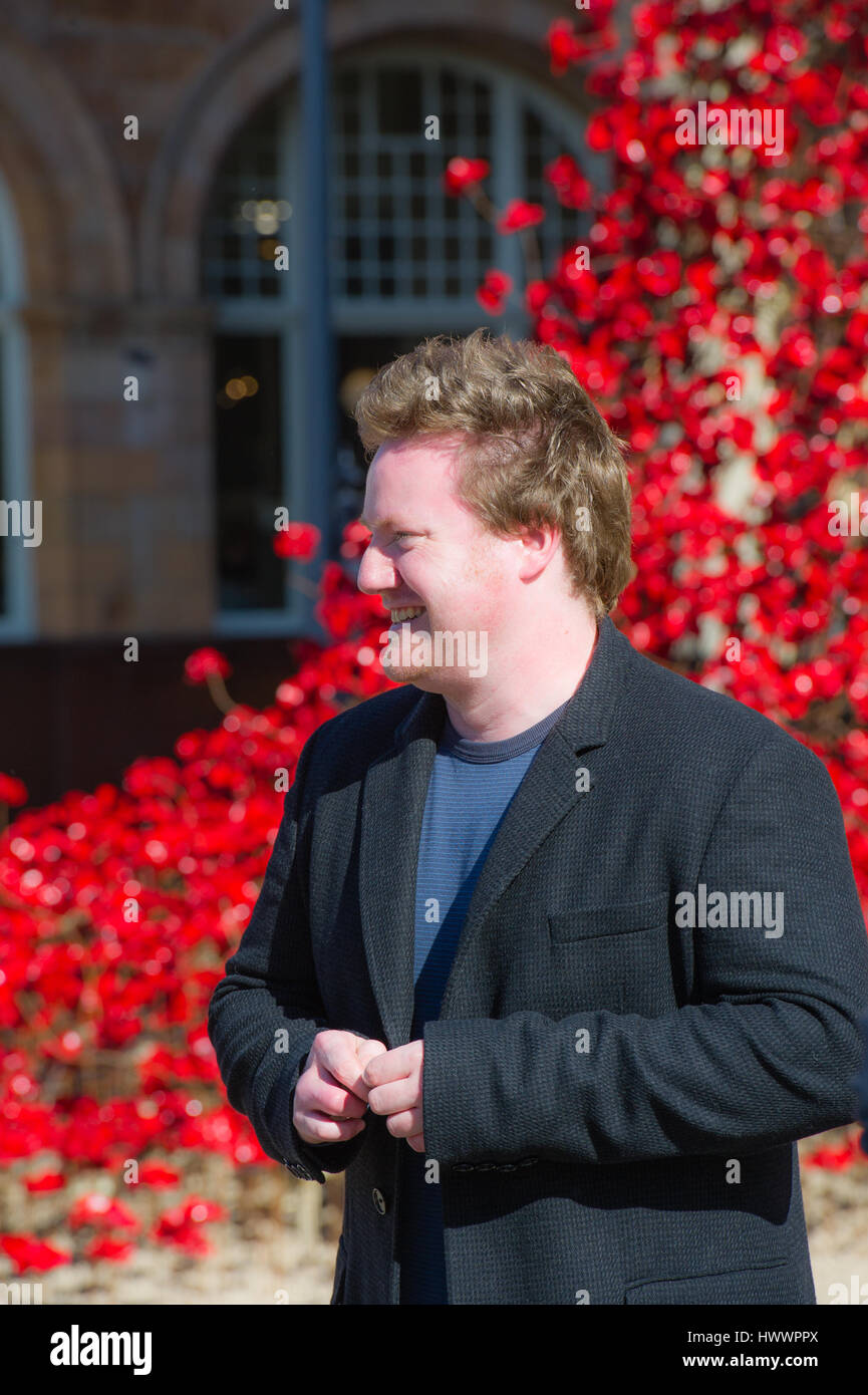artist Paul Cummins  Unveiled the 'Weeping Window' installation in Hull City of culture 2017 - Stock Image