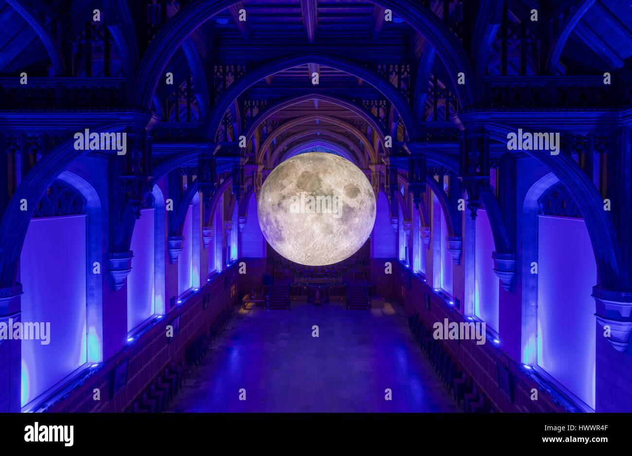 Bristol, UK. 23rd March 2017. Luke Jerram's Museum of the Moon at the University of Bristol, Bristol, UK A large - Stock Image