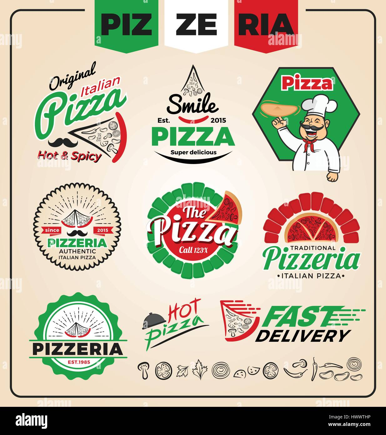 Set of pizzeria logo template design. Pizza labels and frames ...