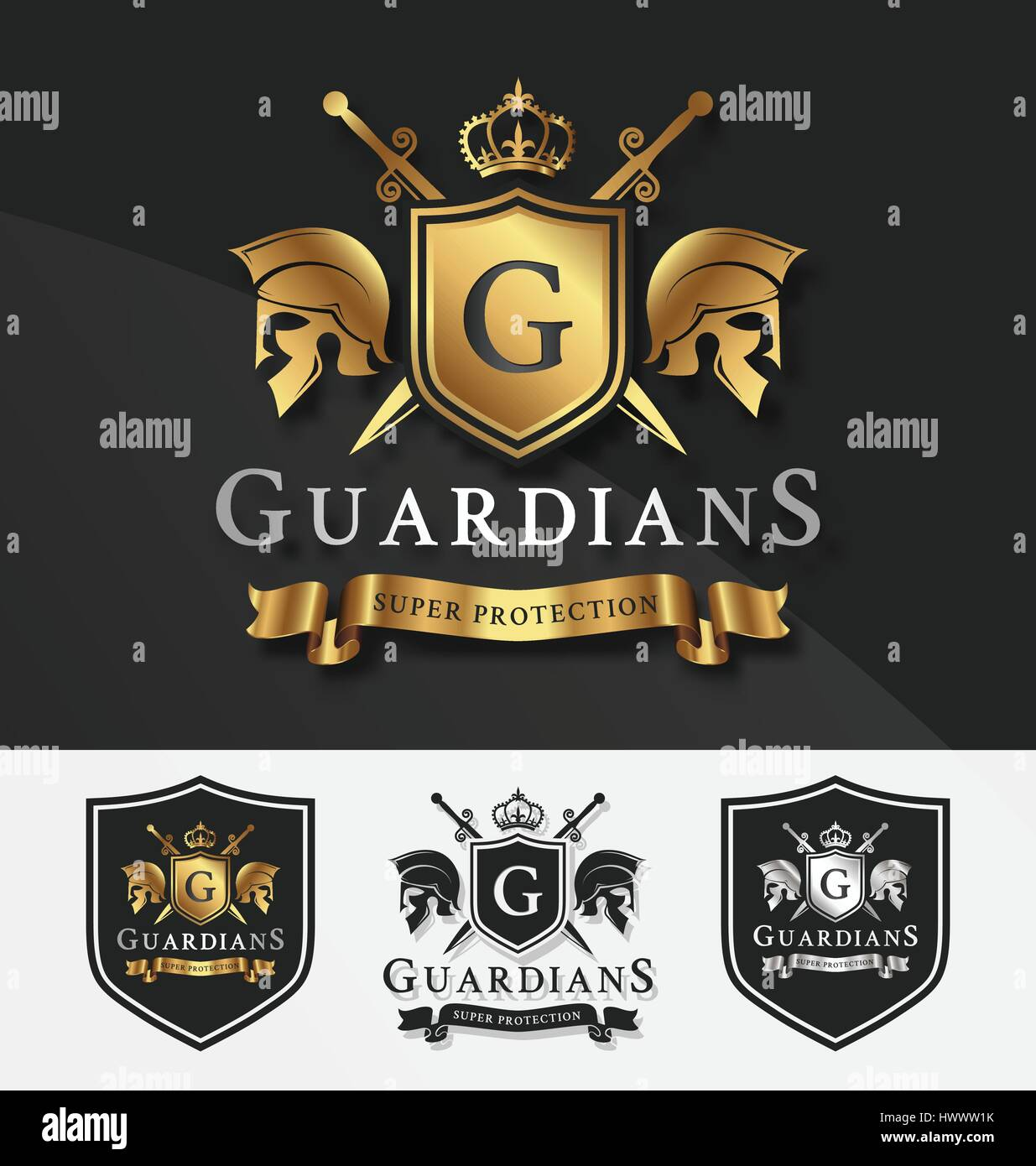 shield and two guardians with cross knight crest logo template for