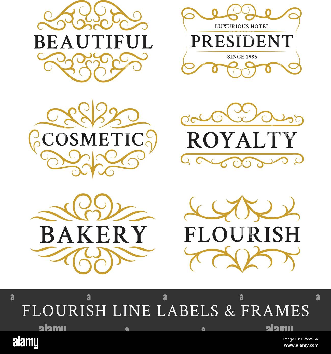 Set of flourish calligraphy frames design for business and product ...