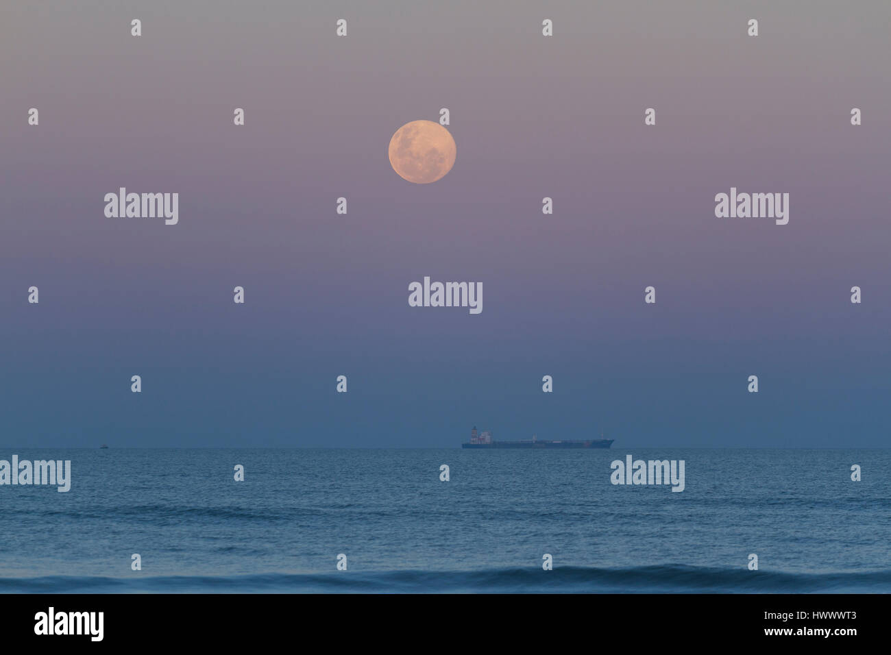 Record of the super moon on a beautiful weekend. Stock Photo