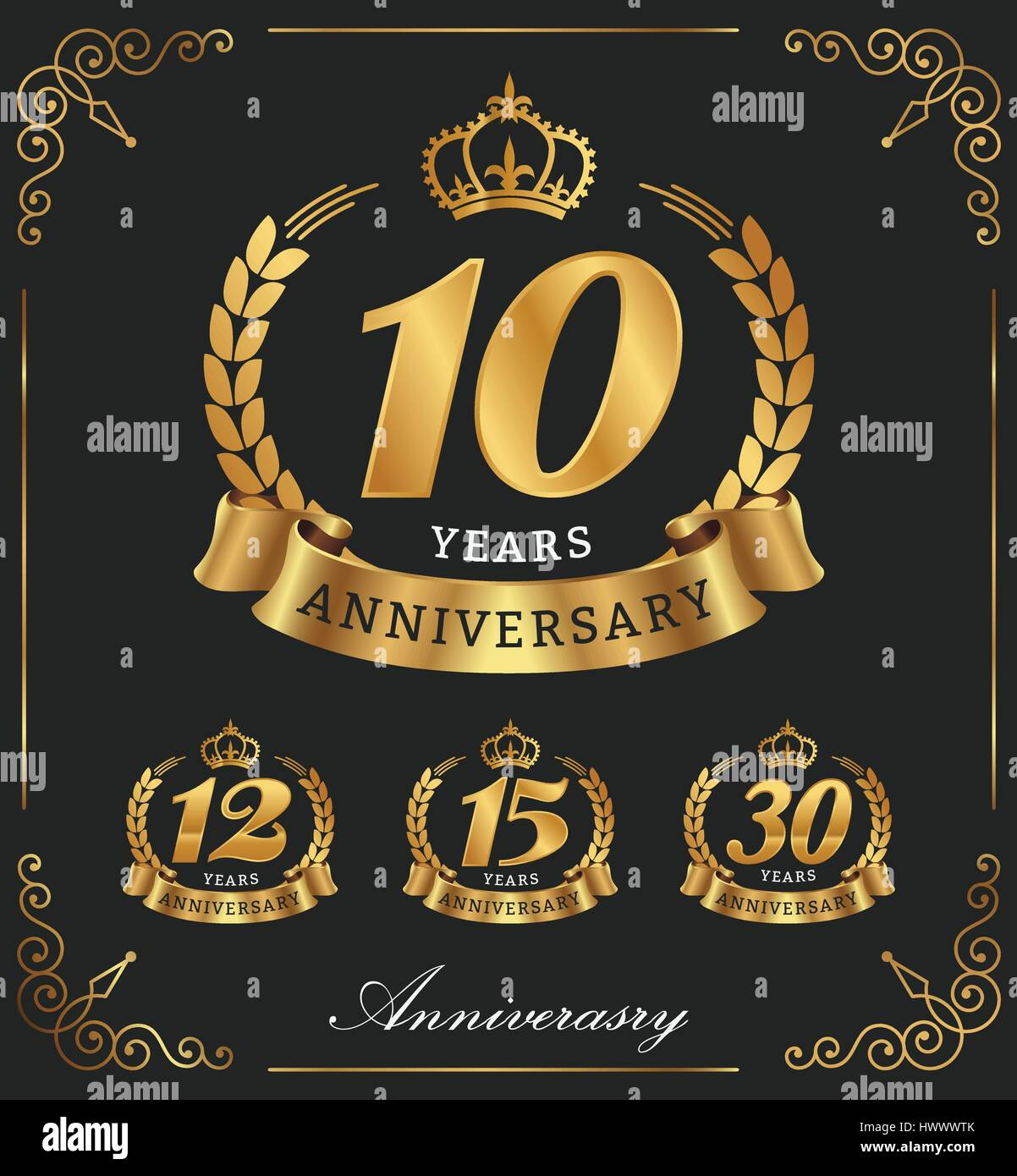 10 Years Anniversary decorative logo. Vector illustration - Stock Vector
