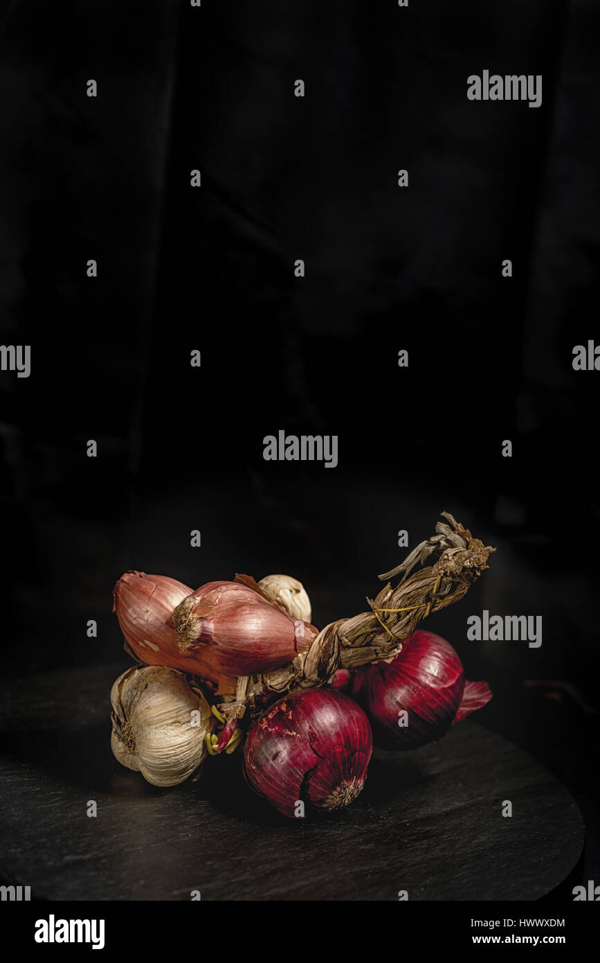 Onion, garlic, echalotte from Italy, Padain Plain - Stock Image