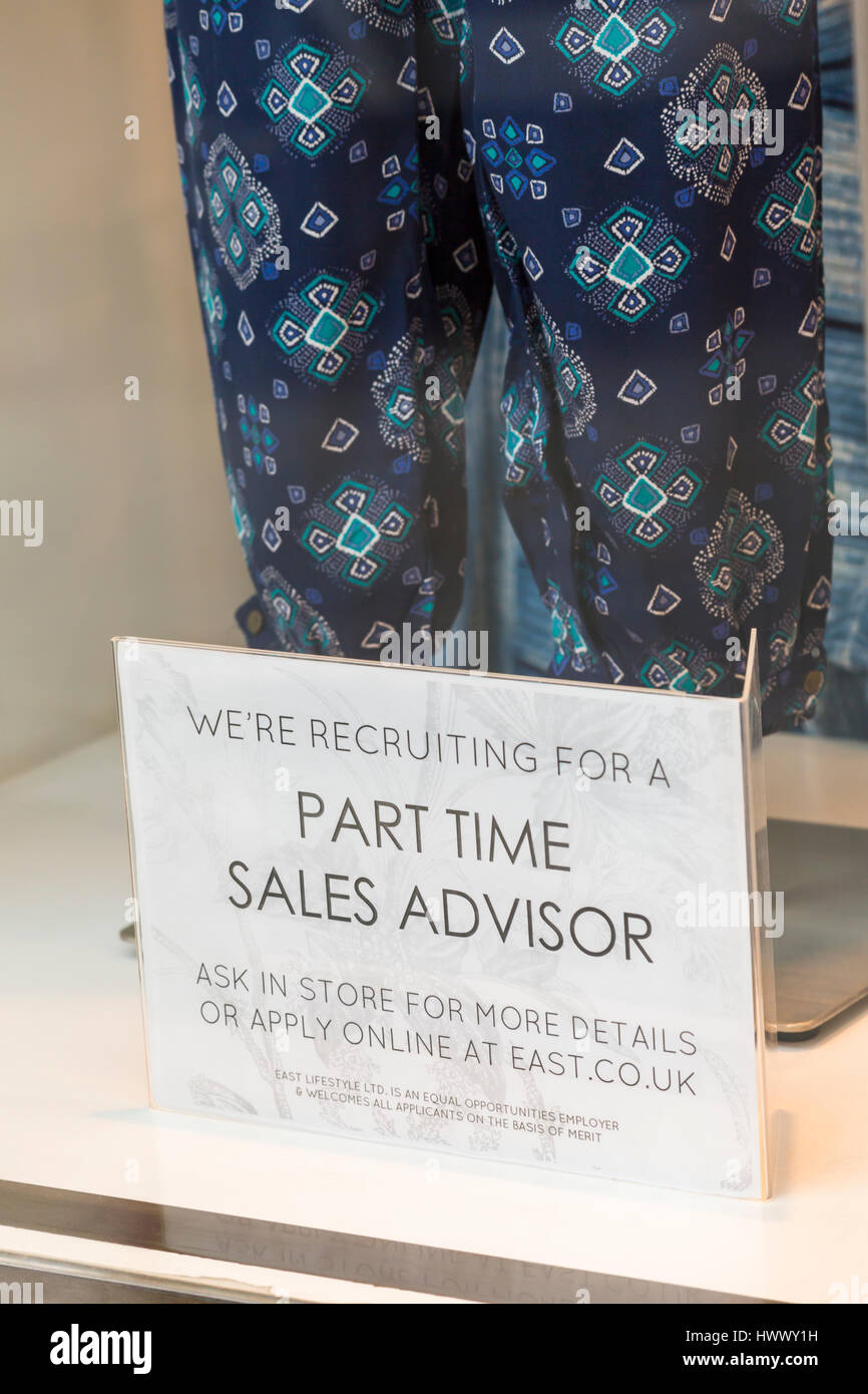 We're recruiting for a part time sales advisor ask in store for more details or apply online sign in East clothing - Stock Image
