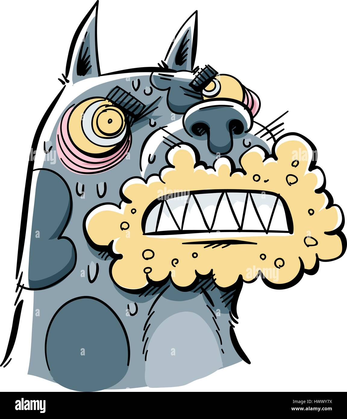 A cartoon of a rabid dog with a foaming, angry mouth. - Stock Vector
