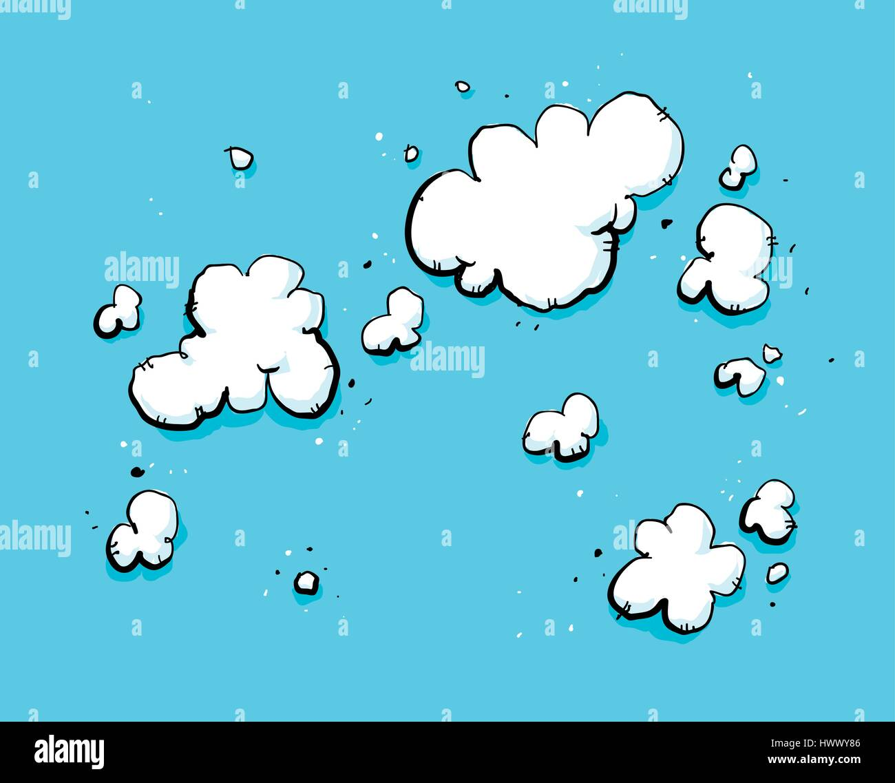 Backdrop cartoon of a deep blue sky with messy, white clouds. - Stock Image