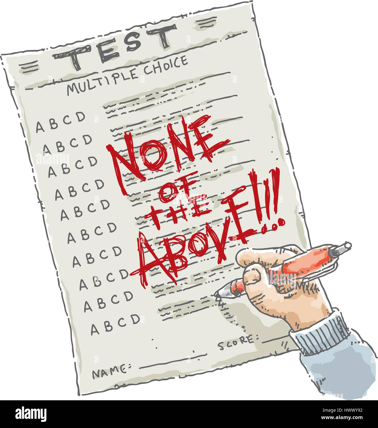 A cartoon of a multiple choice test on paper with the words 'none of the above' written on it in red ink. - Stock Vector