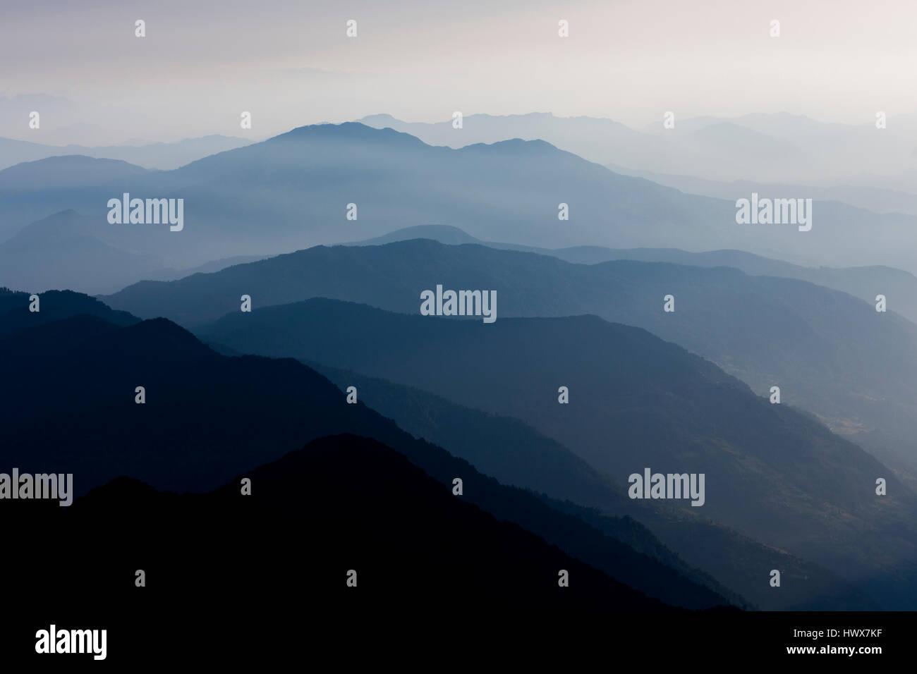 Beautiful skyscape whilst on the Mardi Himal trek Nepal - Stock Image