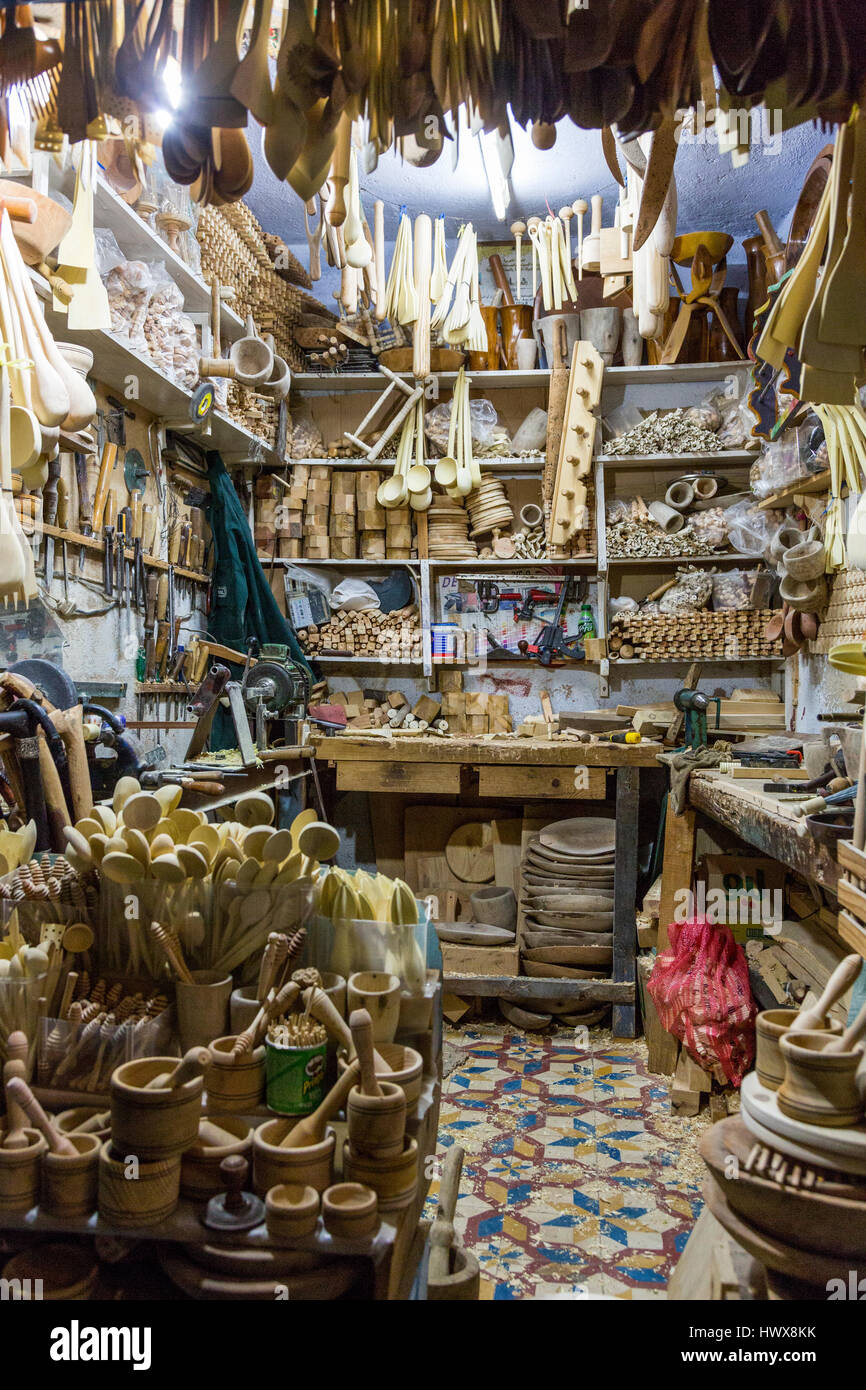 Chefchaouen, Morocco.  Woodworker's Shop in the Medina at Night. - Stock Image