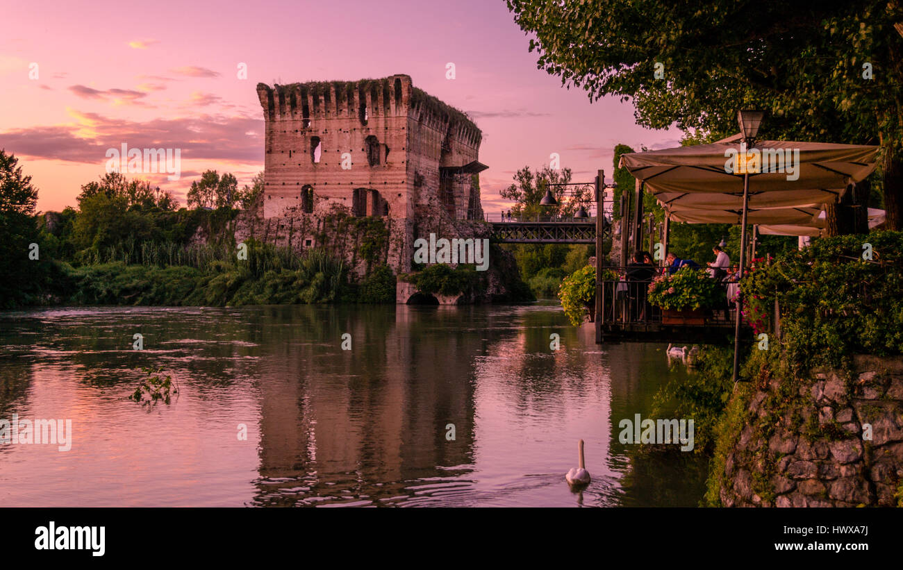 Evening in Borghetto, Valeggio sul Mincio, Italy. Stock Photo