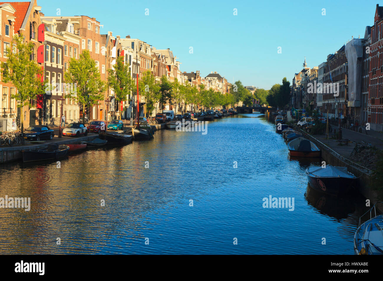 View across the Prinsengracht canal in the centre of Amsterdam, Holland - Stock Image