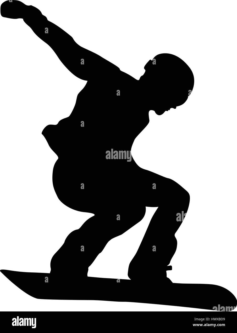 male athlete snowboarder jump black silhouette - Stock Image
