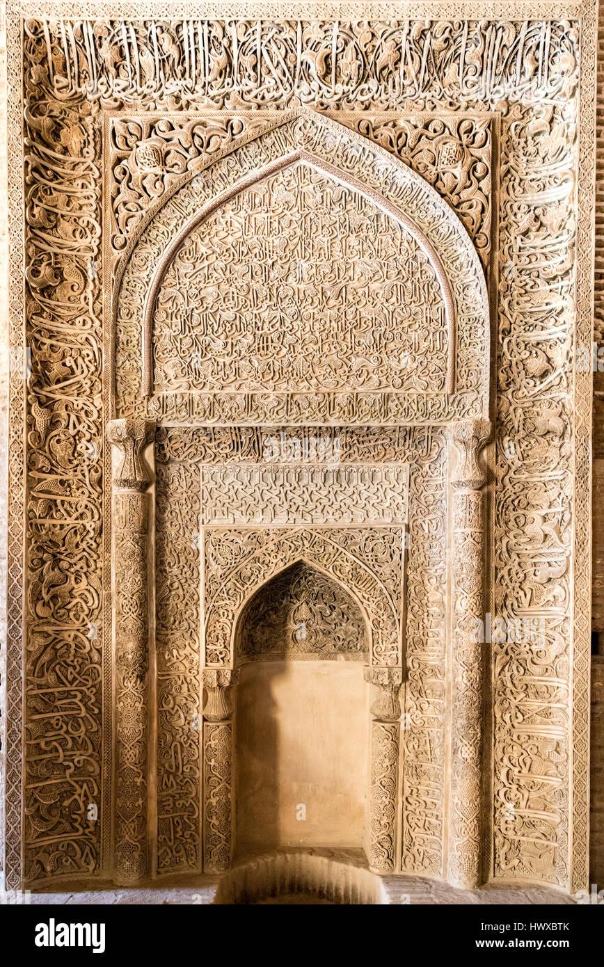 Mihrab of Teachers' Iwan, Masjid-e Jameh (Friday Mosque) Isfahan, Iran - Stock Image