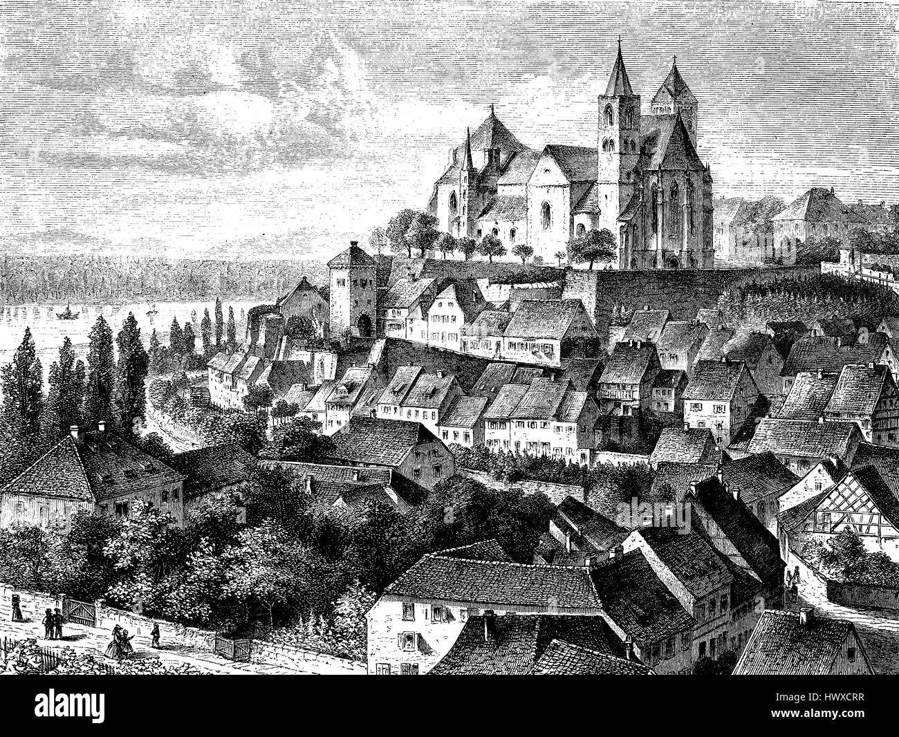 View from Eggersberg, to Breisach am Rhein, Germany, reproduction of an image, woodcut from the year 1881, digital - Stock Image