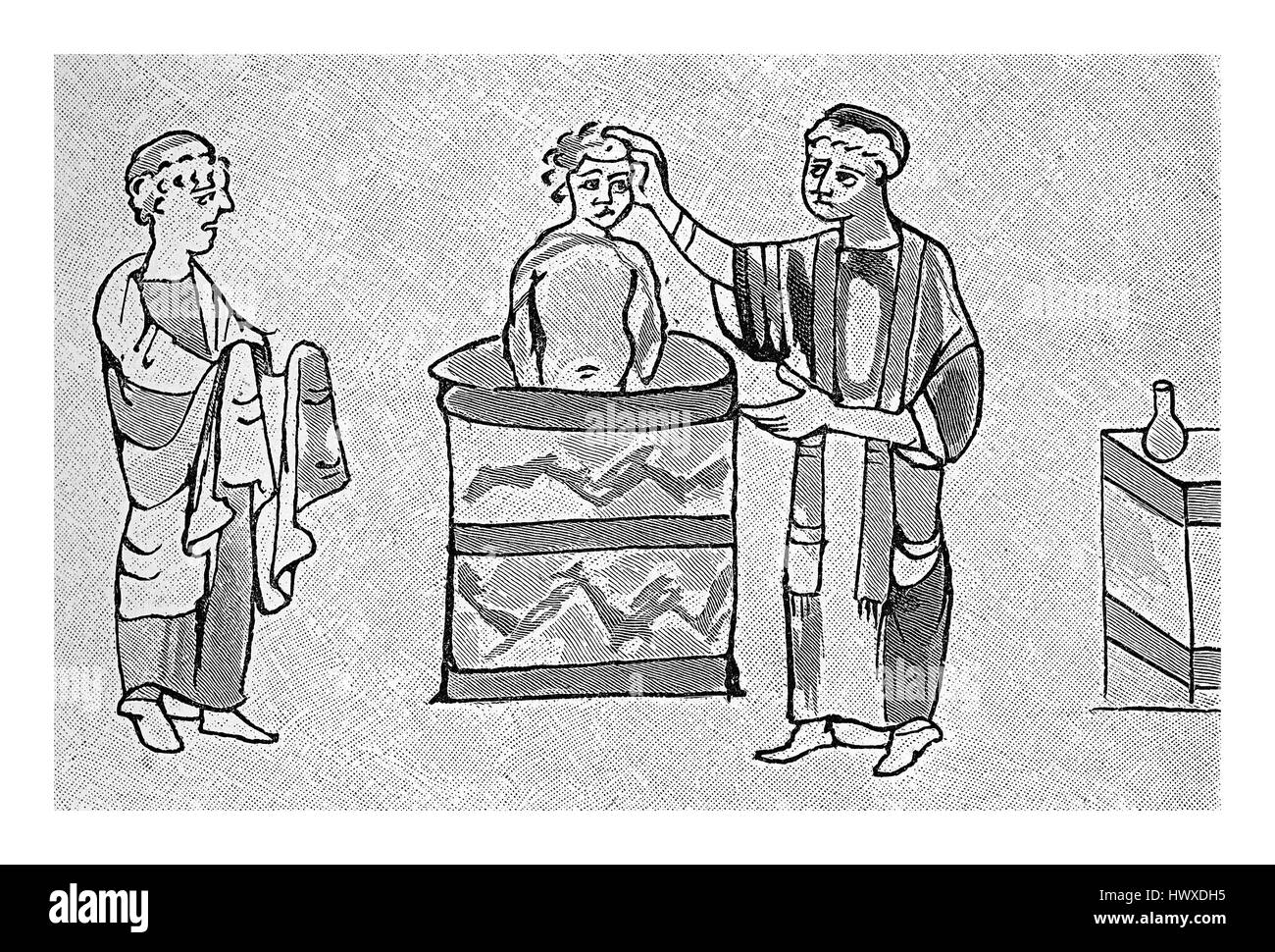 Baptism of a Jewish boy, medieval painting of IX century - Stock Image