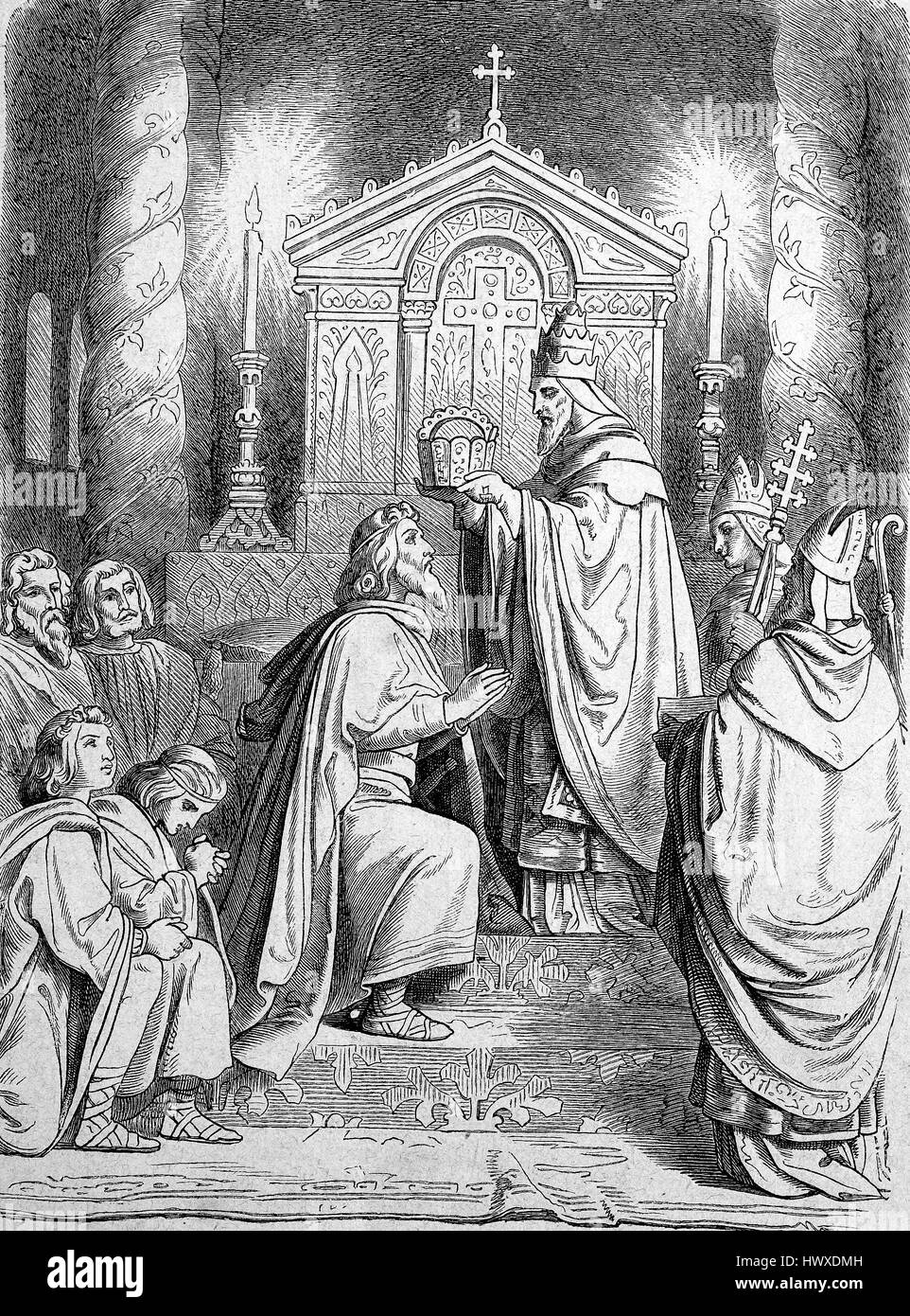 Charlemagne or Charles the Great, numbered Charles I, receives on the first Christmas Day in 800 by Pope Leo III. - Stock Image