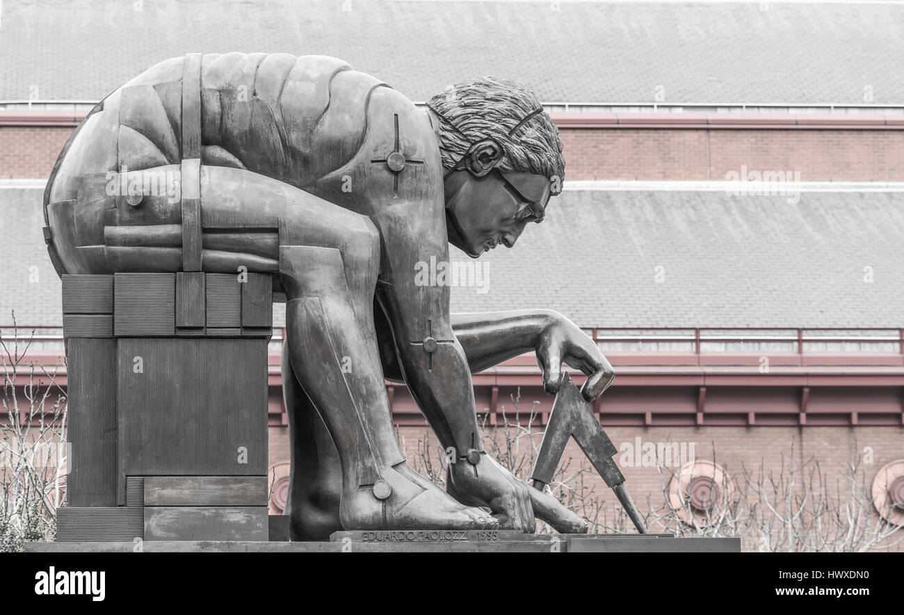 Statue of Isaac Newton, British library, London. - Stock Image