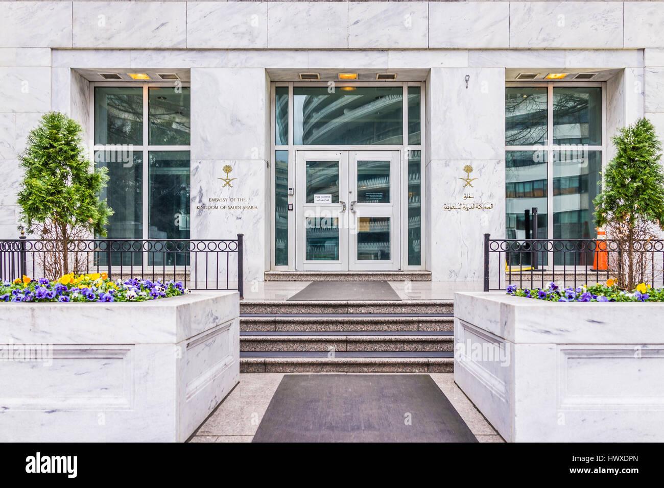 Washington DC, USA - March 20, 2017: Saudi Arabia embassy entrance with sign - Stock Image
