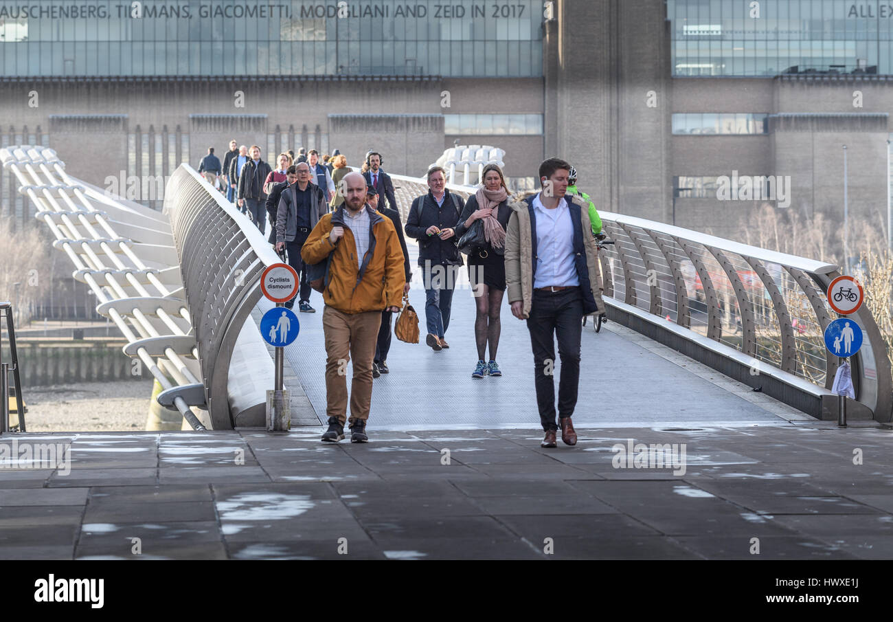 North side of the Millennium birdge, London. - Stock Image