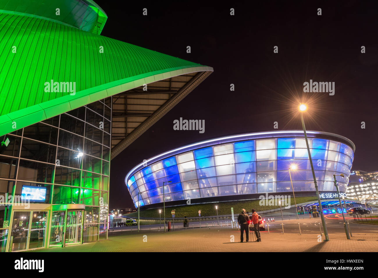 The Scottish Event Campus (SEC) Glasgow, Scotland - The SSE Hydro and SEC Armadillo at night - Stock Image