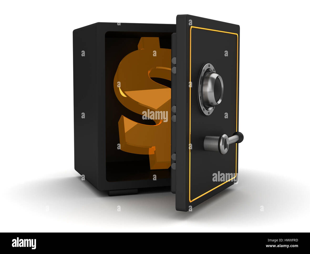 3d illustration of black safe with dollar symbol inside - Stock Image