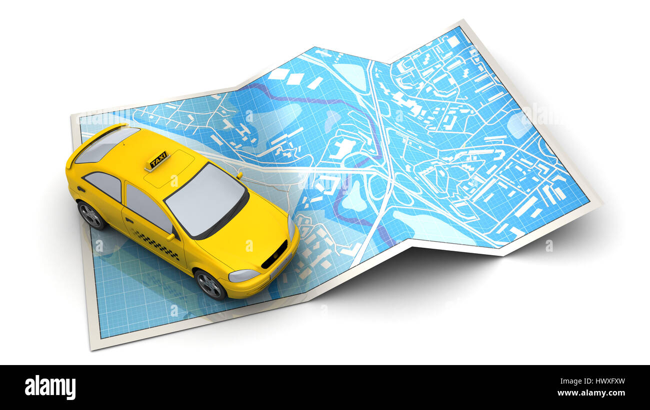 3d illustration of city map and taxi vehicle, over white background - Stock Image