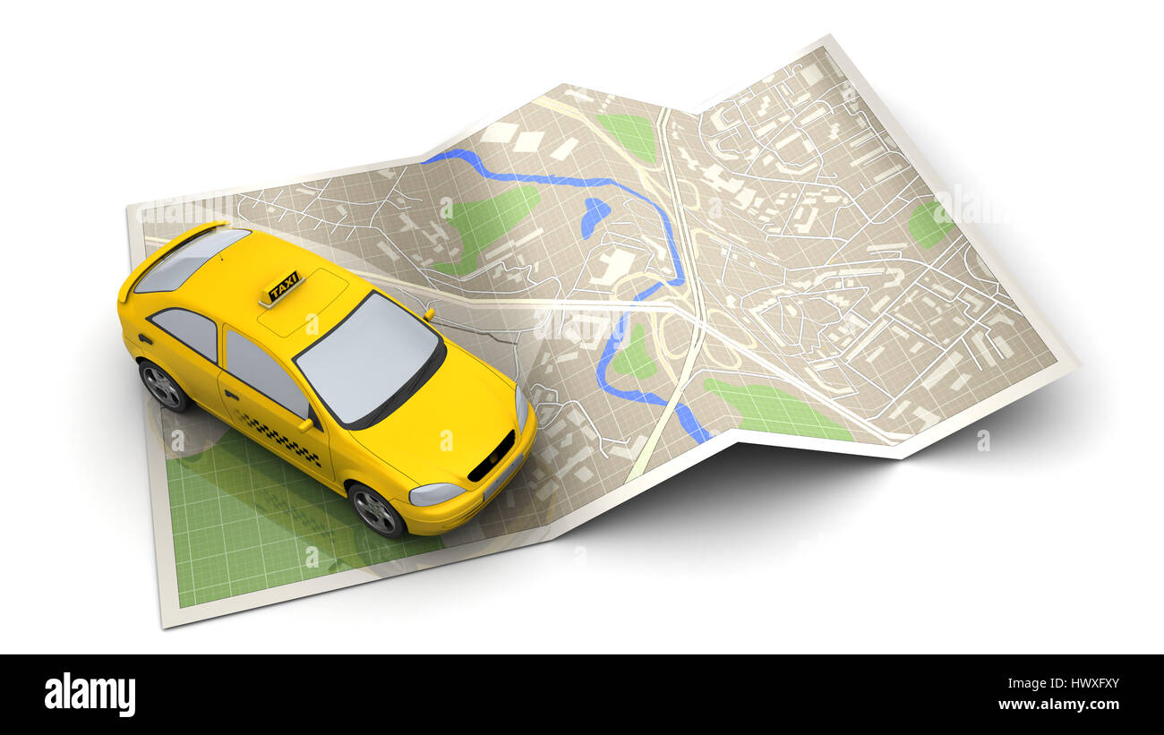 3d illustration of taxi vehicle and map, over white background - Stock Image