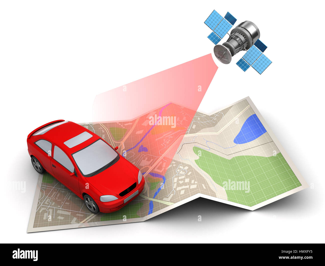 3d illustration of car location tracking with satellite navigation - Stock Image