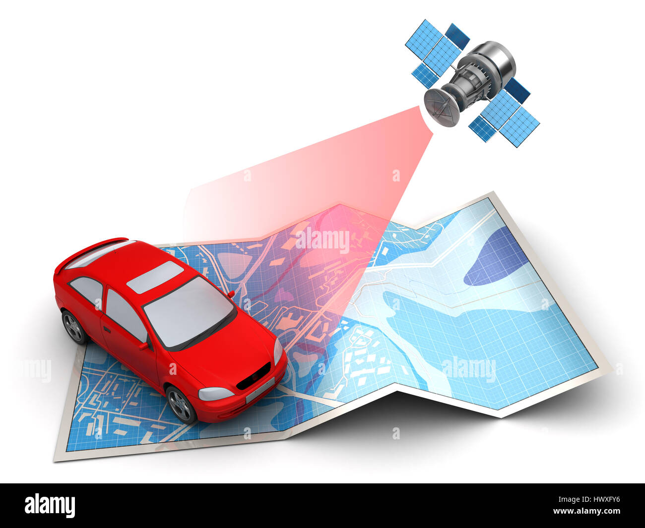 3d illustration of car location tracking with satellite - Stock Image