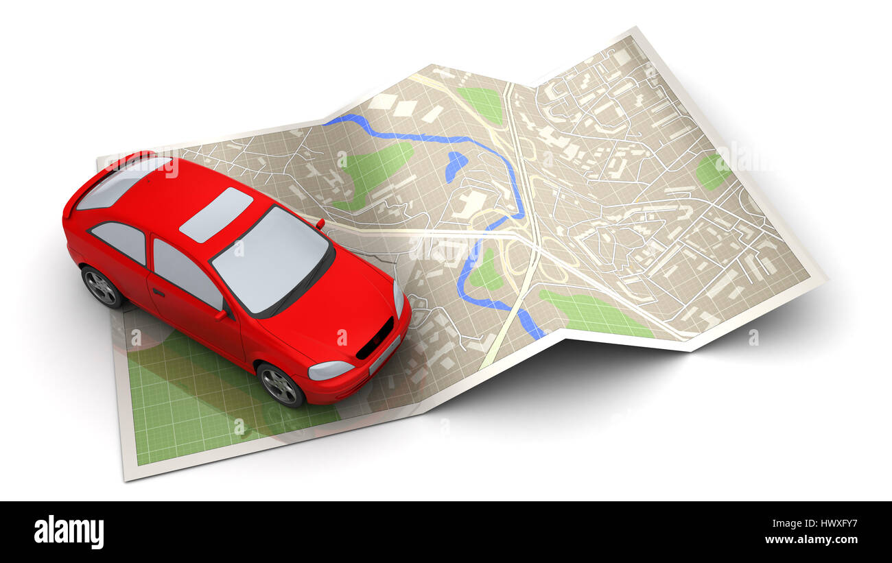3d illustration of red car and map, navigation concept - Stock Image