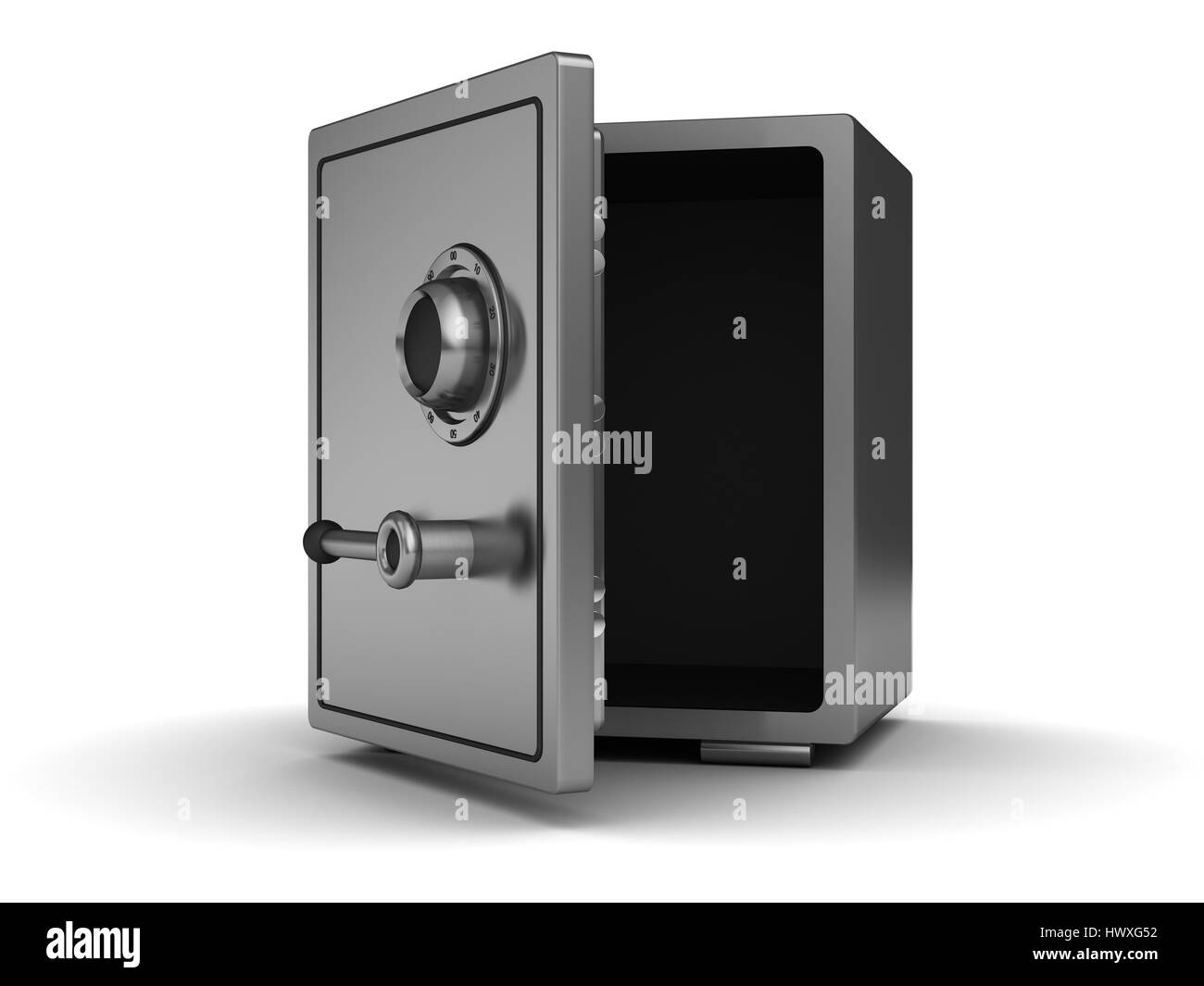 3d illustration of empty half opened safe - Stock Image