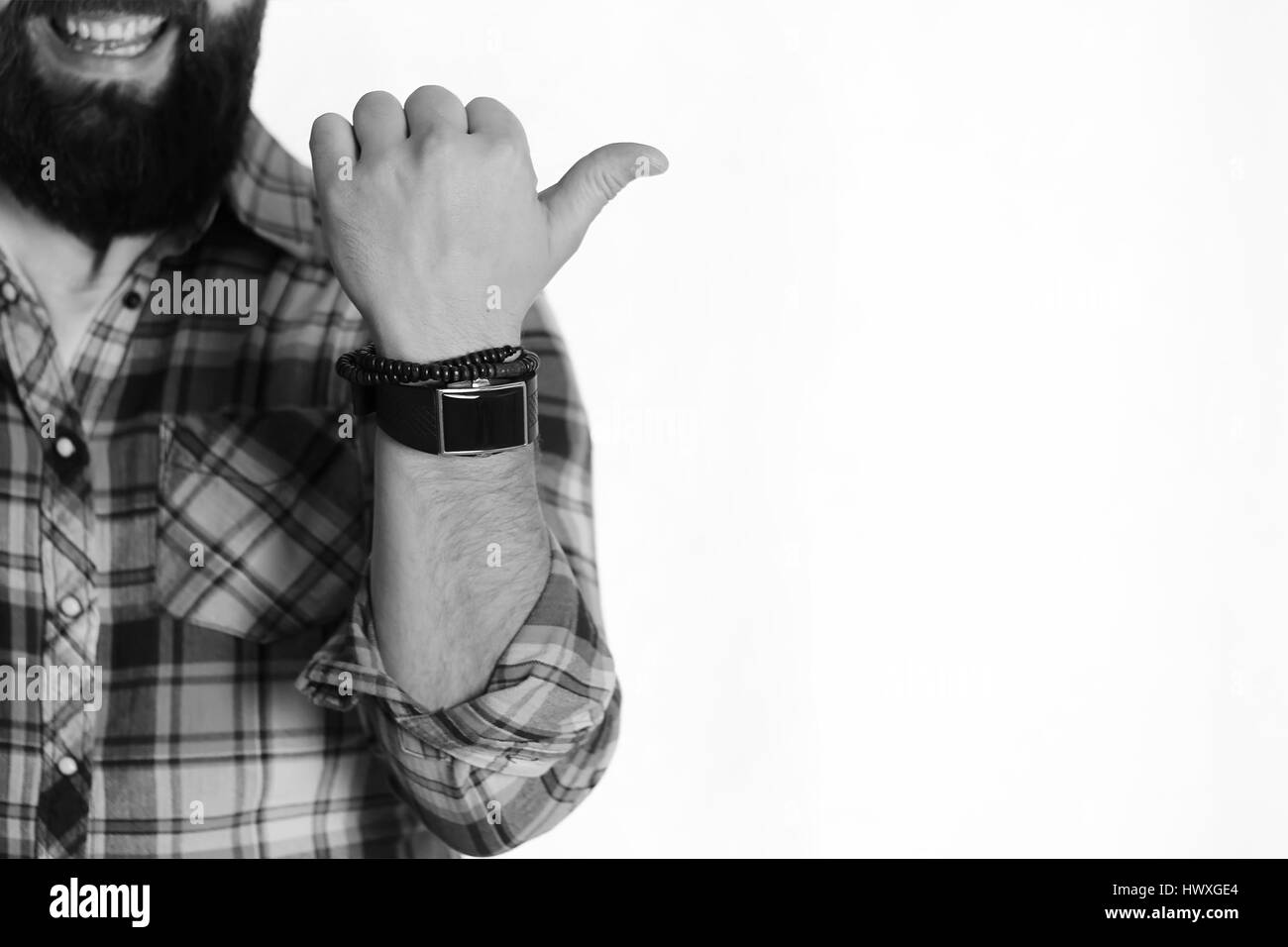 male hand finger showing torso - Stock Image