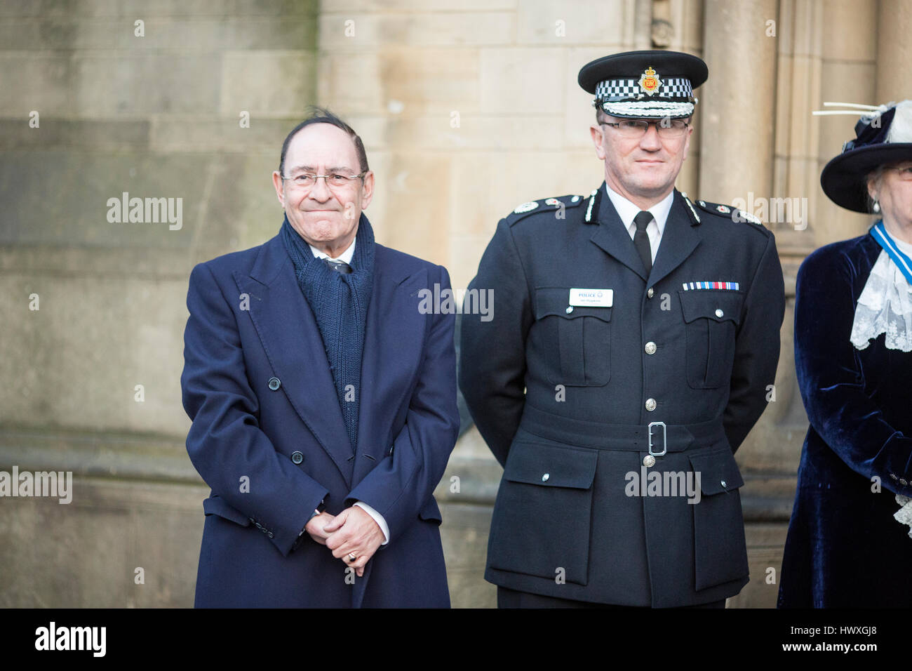 A vigil is held in Albert Square , Manchester City Centre tHoward Bernstein Manchester Council chief exec (left) - Stock Image