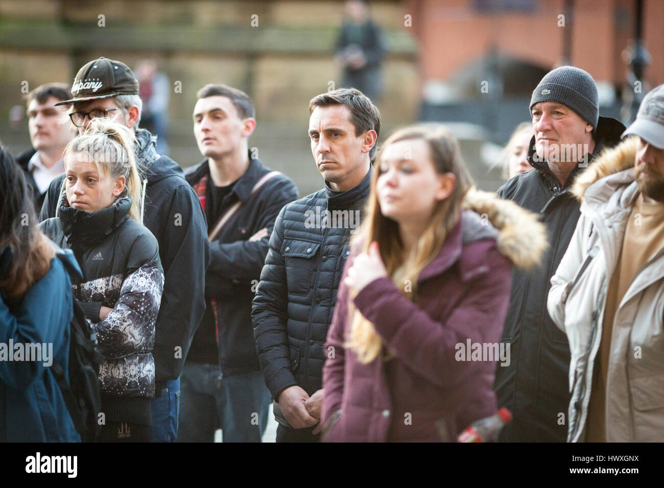 A vigil is held in Albert Square , Manchester City Centre today . Former Man Utd footballer Gary Neville in the - Stock Image