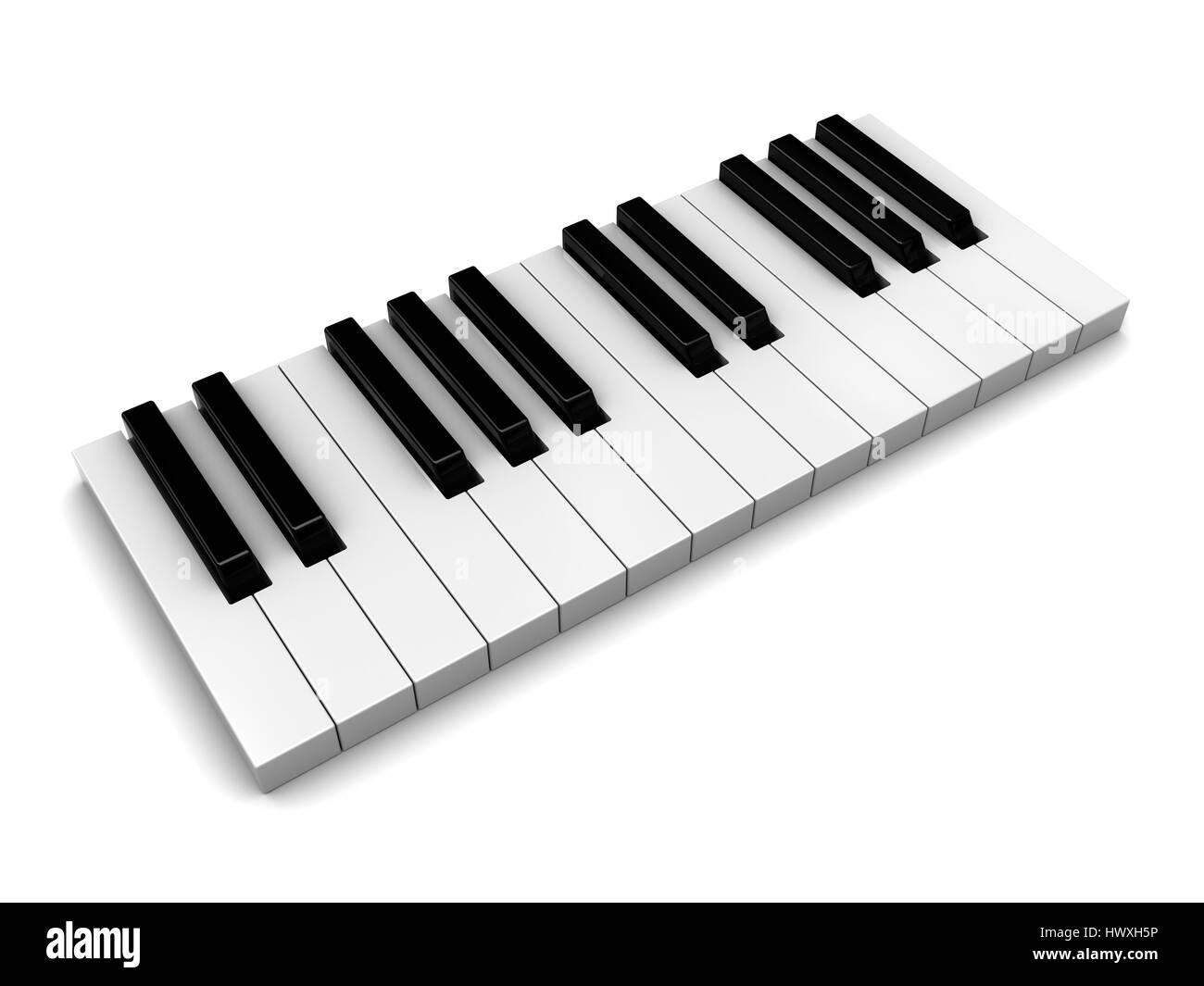 3d illustration of piaon keys over white background - Stock Image