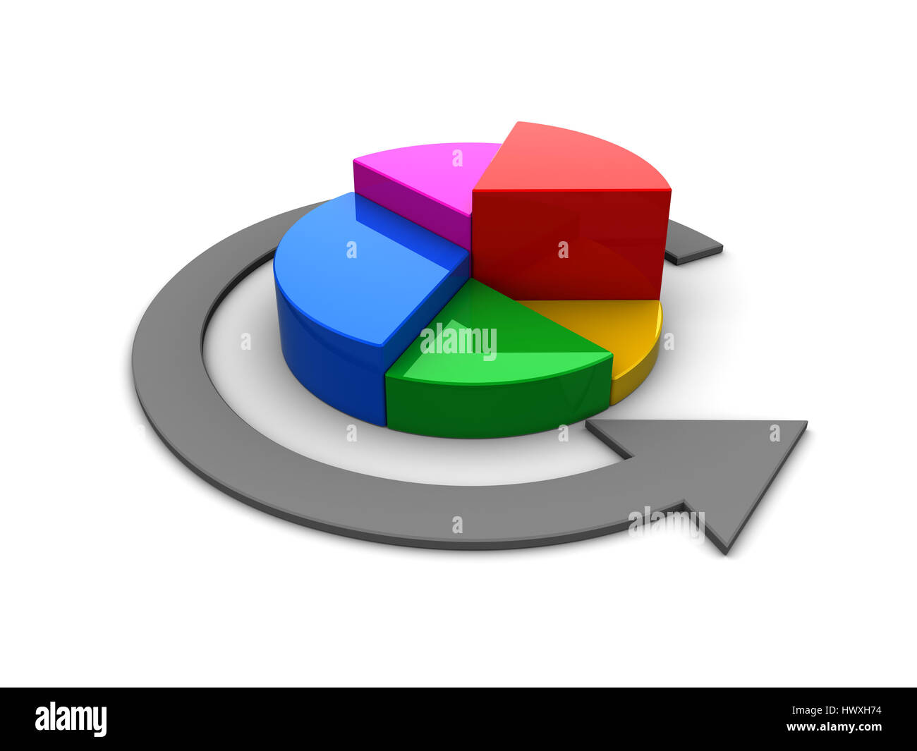 3d illustration of colorful pie chart over white background Stock Photo