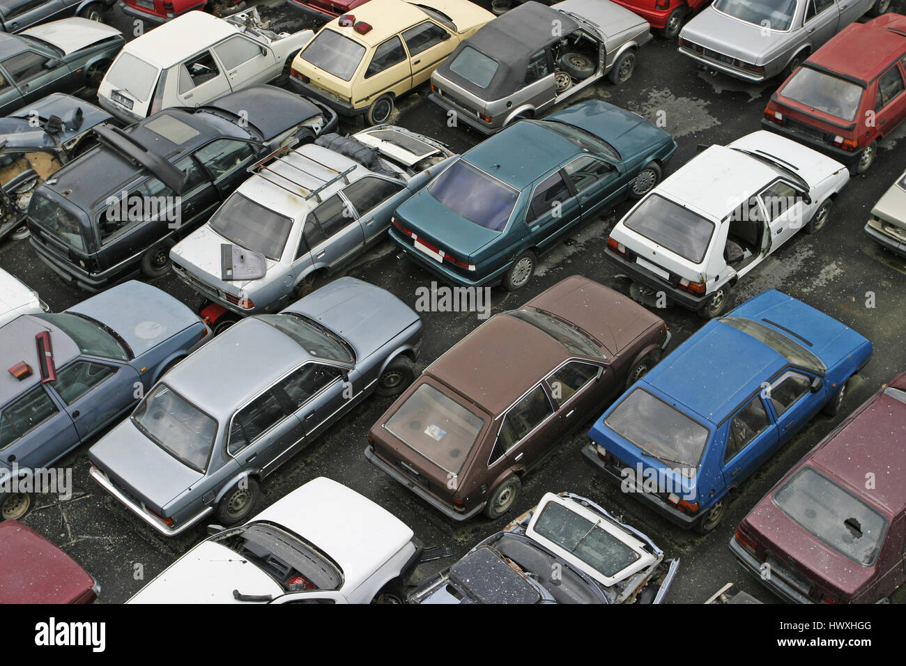 Scrap Car Recycle Yard with lots of old crushed cars Stock Photo ...