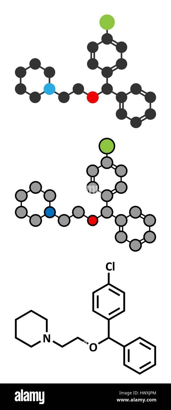Cloperastine cough suppressant drug molecule. Conventional skeletal formula and stylized representations. - Stock Image