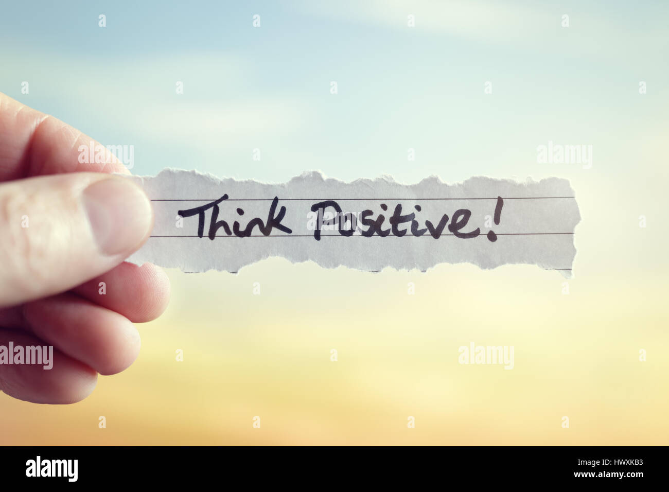 Think positive message concept for optimistic thinking and self belief - Stock Image