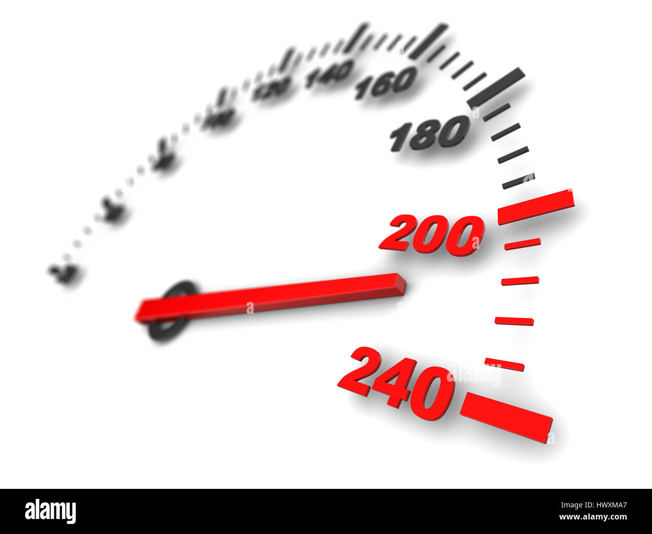 3d illustration of speed meter, fast - Stock Image